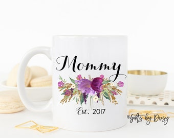 mommy coffee mug, personalized mug, custom mug, christmas gift, mom established, est mug, mom, mother, mom, announcement baby, m-114