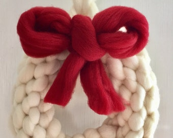 NEW! Chunky wool wreath. ready to ship for Christmas delivery!