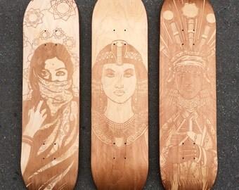 Customizable skateboard by laser engraving