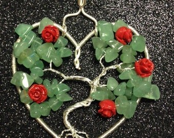 Tree of Life Pendant, Green Jade, Lucite Roses with Silver-Plated Wire  GWL-301