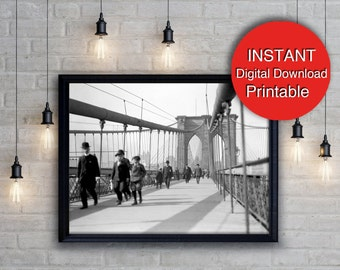 New York City Black White Print Digital Download Brooklyn Bridge New York Photography A4 16x20