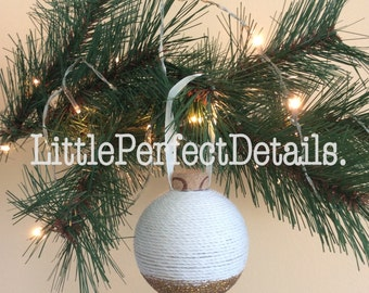 Thread and Glitter Christmas Ornament