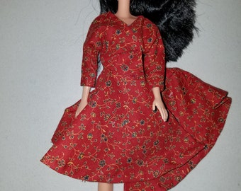 Barbie red calico dress vintage style