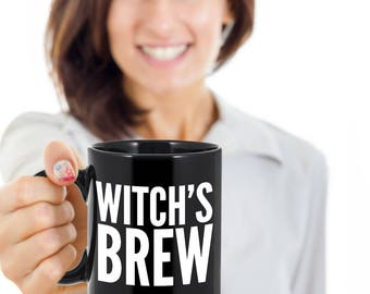 Halloween Mug - Halloween Gifts - Witch's Brew Coffee Mug - Gifts for Witches - Black Mug for Witches Brew