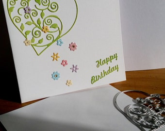 A square white birthday card, handmade, handcrafted, embellished.