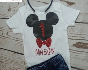 Mickey Mouse Birthday Outfit, Boys  Birthday Outfit, Mickey Mouse Birthday Shirt, Mickey Mouse Birthday onesie ,Mickey Mouse Ears headband