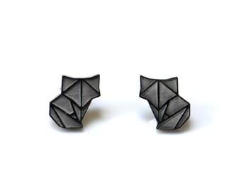 fox earrings, fox jewellery, fox studs, fox jewelry, origami earrings, origami jewellery, geometric earrings, geometric jewellery, fox gift