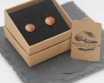 Wood Turned Yew Stud Earrings, 925 Sterling Silver Findings, Circle, Dome, Unique, Handcrafted, Wooden Earrings