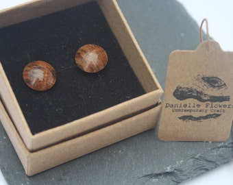 Wood Turned Oak Root, Stud Earrings, 925 Sterling Silver Findings, Circle, Dome, Unique, Handcrafted, Wooden Earrings