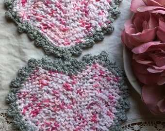 Set of 2 Knitted heart washcloths with crochet trim