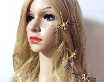 Butterfly Wedding Comb,  Butterfly Hair Comb,  Butterfly Headpiece, Rustic wedding Comb, Gold Hair Comb, Garden Wedding Hair Accessories