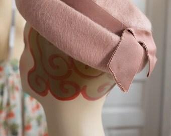 Rose Pink Wool Bumper Brim Hat | Shagfelt Hat | Shagfelt Wool | Breton Hat | Halo Hat | Bretonne | Madeline Hat | Vintage 1960s 60s hat