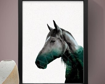 Horse Double Exposure Poster, Wall Art, Home Decor