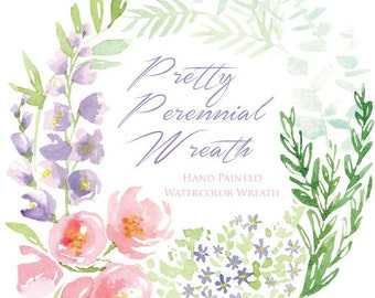 Watercolor Flower Clipart -  Pretty Perennial Wreath - Floral Watercolour Download