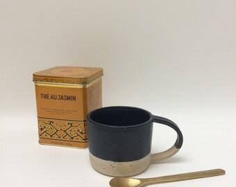 SOLD OUT Handmade black 'dip' stoneware ceramic mug