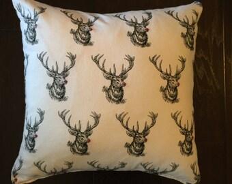 Reindeer flannel throw pillow