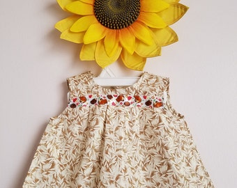 Beige/Cream Cotton Baby Girl Dress with Hedgehog ribbon.Ready to ship .Size XXS (0-3 m), M (12m), L (18m).