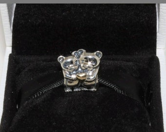 SALE- Authentic 925 Sterling Silver Bear Hug Charm Stamped 925