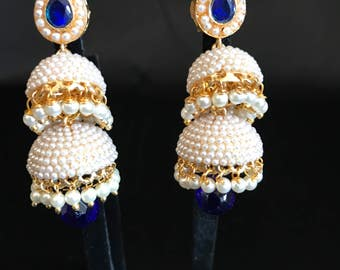 Indian Jewelry - Royal Blue Earrings - Indian Earrings - Kundan Earrings - Kundan Jewelry - Jhumki Jhumka Earrings - Bollywood - Pakistani -