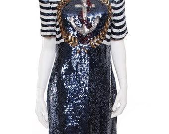 Anchor Striped Sequins Dress