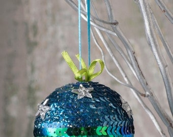 Christmas Ball/ Sequin Christmas Ball/ Christmas Decoration/ Christmas Tree Decoration/ Christmas Ornaments/ Blue and Green Sequins