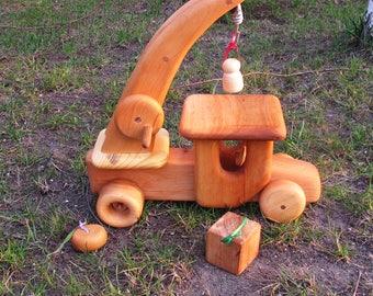 Сrane сhildren, Crane Truck, Waldorf Toys, Educational toys, Mobile crane toys,Wooden crane toy, Kids crane