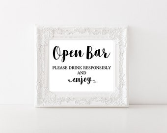 Wedding Bar Sign, Open Bar Printable, Instant Download, Free Drinks, Reception Decor, 5x7, 8x10