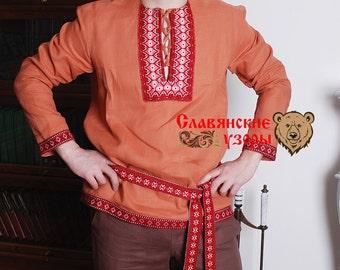 "Men's Shirt ""Brown Bear"", russian men shirt, slavic short, cossack shirt, linen shirt, orange shirt"