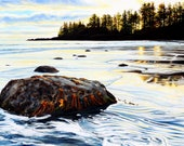"""Beach print, 11x14 inch matted print from original oil painting """"Evening Ebb Tide"""" by Sheryl Sawchuk"""
