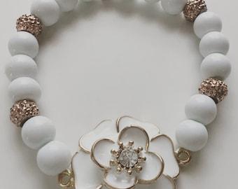 White and Rose Gold Flower Bracelet
