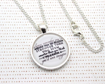 Winnie the Pooh, 'Braver Than You Believe' Pooh Bear Necklace or Keychain, Keyring.