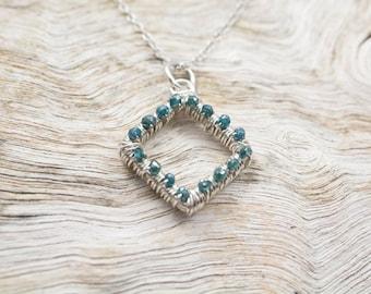 Brilliant Blue Diamond Shape Pendant - Silver (950)