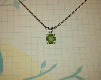 Peridot Gemstone Solid Sterling Silver Necklace