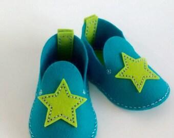 Star baby shoes, Wool felt booties, Felt booties baby, Baby shower gift, Baby crib shoe, Crib shoes blue, Blue boy gift, Booties shower gift