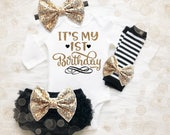 Baby Girl 1st Birthday Outfit   It's My 1st Birthday Girl Outfit   Cake Smash Outfit   Black And Gold 1st Birthday Outfit