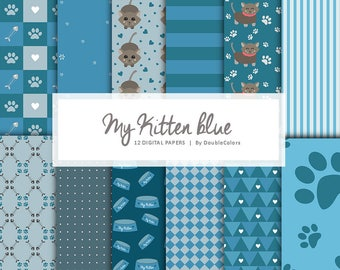 12 Digital papers my kitten blue. Printable. Cats lover