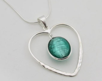 Heart Pendant, Sterling Silver Necklace, Sea Green Pendant, Murano Glass Necklace, Handmade Heart Necklace, Gifts For Her