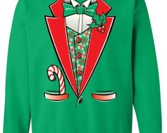 Tuxedo Sweatshirt Sweater Ugly Merry Christmas Sweater Funny tacky holiday t shirt women men
