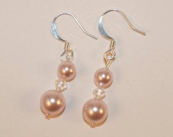 Pink crystal Pearl Earrings