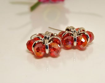 Red Crystal Dangle Earrings Hypo Allergenic, Half Price Special.