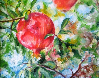 Impressionist fruit painting, original oil painting Pomegranates, nature art, original artwork, kitchen wall art, wall decor, botanical art