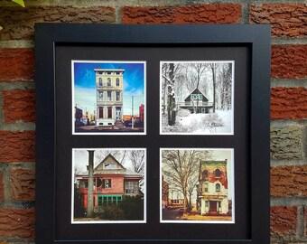 Home, House photography, Row home, Townhouse, Architecture, Facade, Urban Landscape, Philadelphia prints, vintage art, square frame