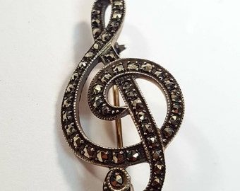 Vintage Sterling G Clef Marcasite Music Note Brooch Pin