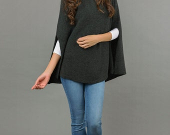 Poncho Cape Pure Cashmere Dress Plain Knitted 2ply Super Soft Luxury CHARCOAL GREY - Made in Italy