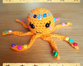 Orange Empress Octopus crocheted amigurumi - orange