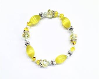 Sunny Yellow Beaded Stretch Bracelet