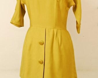 1960's Yellow Peplum Dress / Evening Dress / Wiggle Dress / Mad Men / Rare Collectable Retro