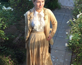 Ivory Raw Silk Embroidered Early 1920's or Edwardian Ladies Suit