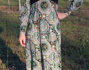 60's 70s bias cut maxi dress in Cali Native American pattern | Megan Draper | Man Men | Retro Hippie dress with long sleeves | Small| 4 | 6