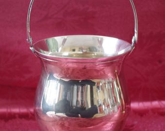 Vintage Ice Bucket - Mid Century - Streamline - Barware - Design - silver plate - 50s - Ice Tong - Modern Art